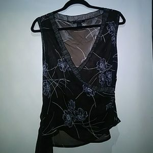 The Limited sheer black and white blouse